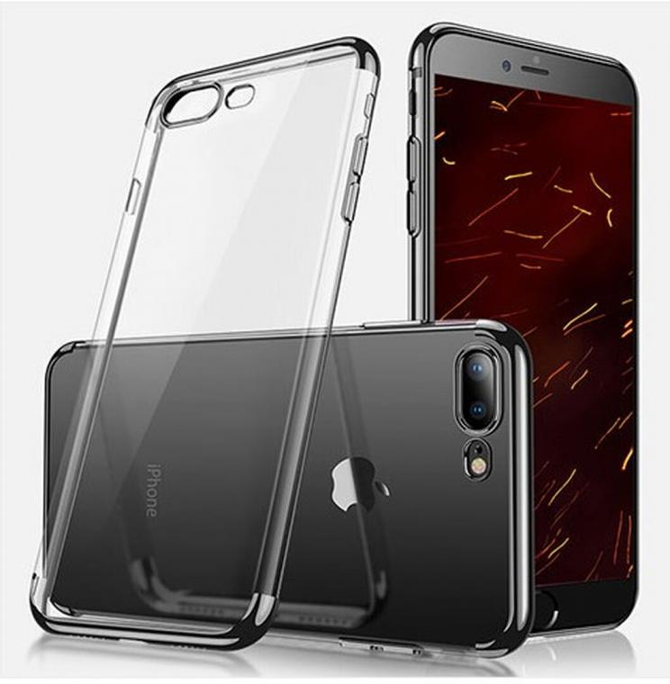 Coque contour coloré Iphone 7+ / 8+, Noir