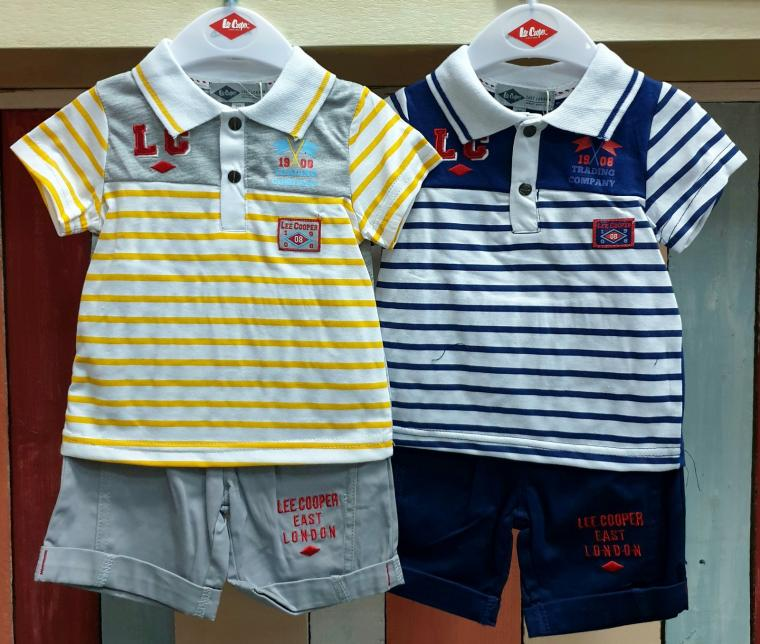 ENSEMBLE GARCON 2 PIECES POLO SHORT LEE COOPER, Jaune, 6 mois