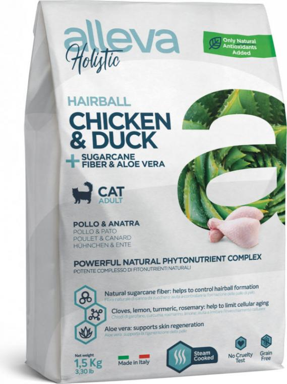 ALLEVA HOLISTIC - Croquette Hairball Poulet & Canard Chat Adulte - 1,5kg