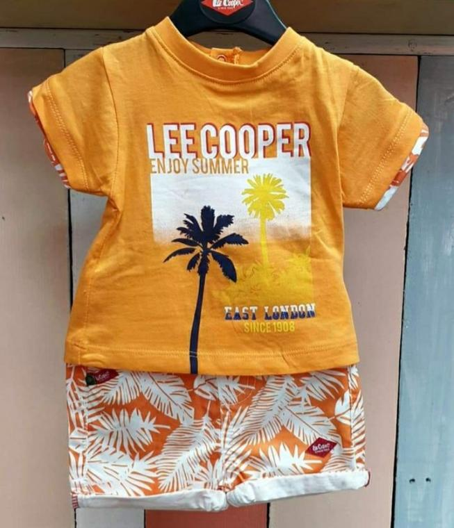 ENSEMBLE SHORT TEE SHIRT GARCON LEE COOPER ORANGE, 18 mois