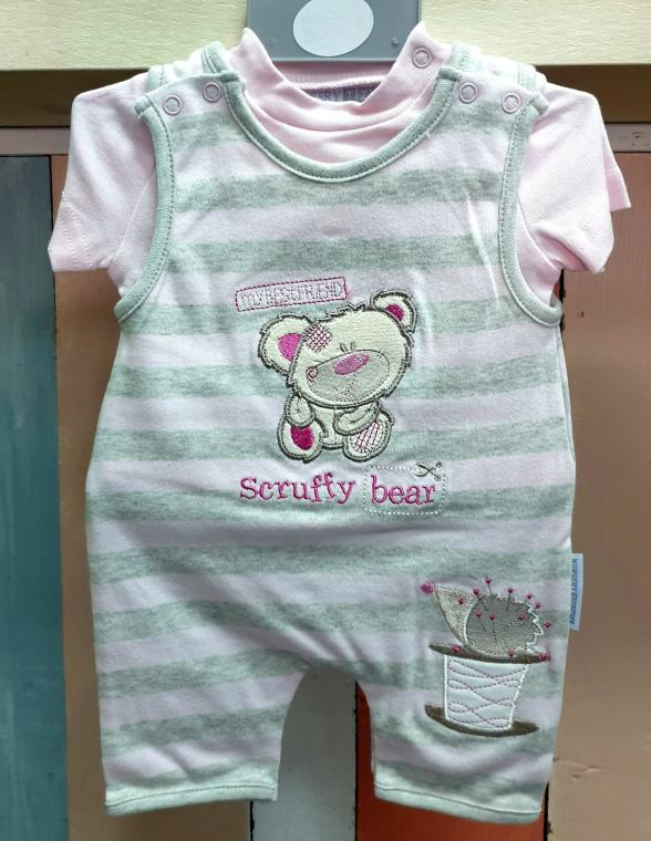 ENSEMBLE 2 PIECES COMBI FILLE SCRUFFY BEAR, 0-3 mois