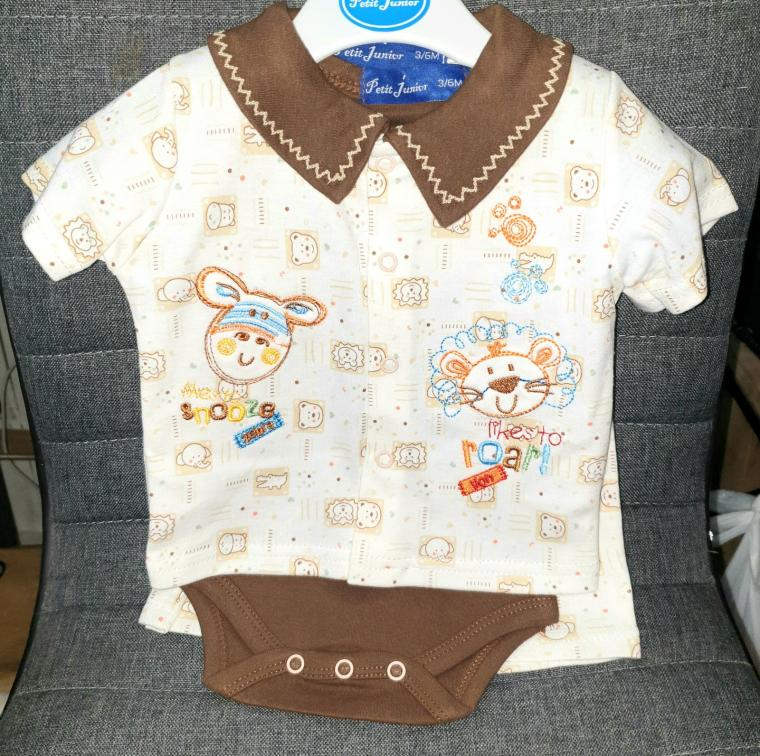 BODY GARCON 3 PIECES CHOCOLAT PETIT JUNIOR, 3-6 mois