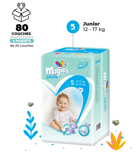 Carton Couches culottes Magics Pants, T5 Junior (12-17kg) - x80